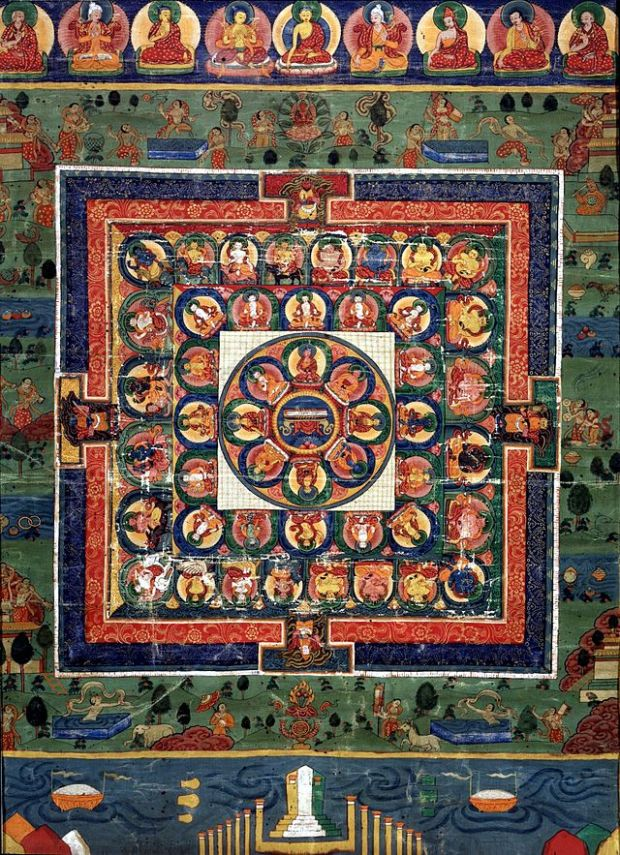 Medicine_Buddha_painted_mandala_with_goddess_Prajnaparamita_in_center,_19th_century,_Rubin